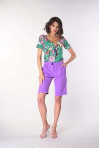 Knee Length Wide Leg Trousers - Violet