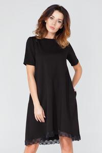 Black Flared Short Sleeves Dress with Lace Edging