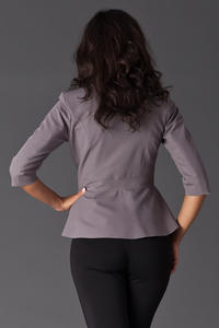 Grey Frilled Hemline Blazer with Front Zipper Fastening