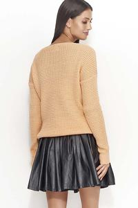 Casual Apricot Sweater with V-neck