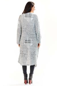 Grey Plaid Pattern Long Losse Lapels Cardigan