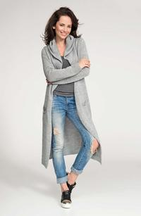 Grey Hooded Maxi Sweater