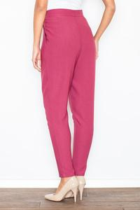 Maroon Tapered Legs Asymetrical Closure Casual Pants