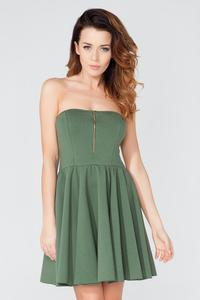 Green Off Shoulders Party Dress with a Zip