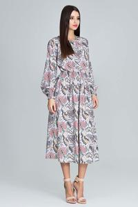 Colourful Midi Dress With Puffed Sleeves