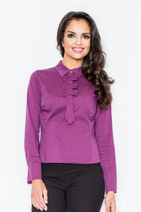 Petite Collared Vintage Bow Neck Purple Shirt