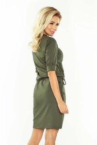 Khaki Pencil Dress with Stand-up Collar