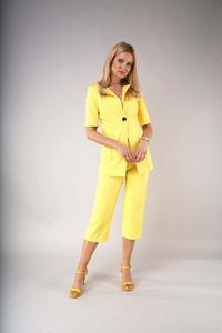 One Button Blazer with Short Sleeves - Yellow