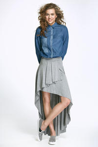 Grey Asymetrical Maxi Frilled Skirt