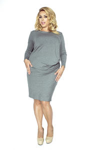 Grey Wrinkled Dress PLUS SIZE