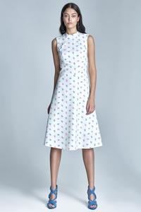 Ecru Sleeveless Delicate Pattern Midi Dress
