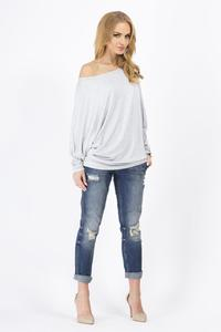 Grey Casual Long Bat Sleeves Blouse