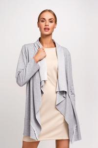 Light Grey Loose Lapels Ladies Cardigan