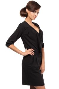 Black Elegant Office Style Unique Collar Dress