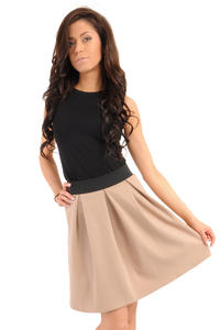 Deep Pleat Short Coffee Skirt