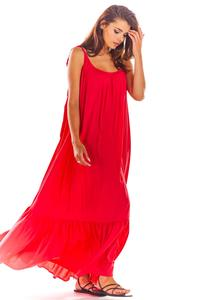 Fuchsia Maxi Dress with thin straps with a frill