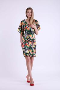 A floral pencil dress with a neckline at the back