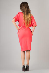 Coral Red Loose Neckline Self Tie Belt Casual Dress