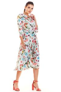 Ecru Classic Flared Dress with a Colorful Pattern