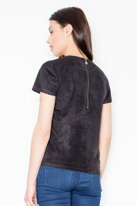 Black Suede T-shirt with Zip at The Back