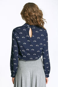 Dark Blue Round Collar Long Sleeves Blouse