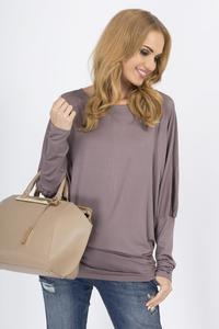 Cappuccino Casual Long Bat Sleeves Blouse