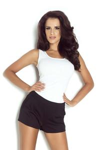 White Fitted ROun Neckline Top