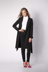 Black Elegant Coat with a frill on the sleeve