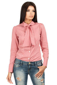 Red Pussy Bow Collar Pinstripe Girly Shirt