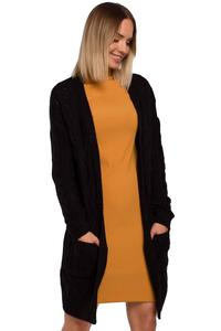 Long Sweater with Pockets  Hoodless (Black)