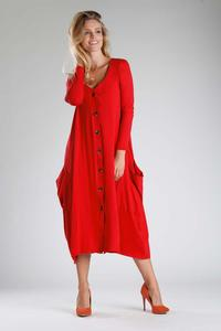Red Knitted Midi Dress Buttoned