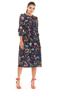 Nawy Blue Romantic Midi Dress with a Floral Pattern