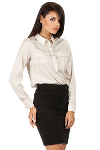 Beige Silky Feel Appointment Blouse Shirt