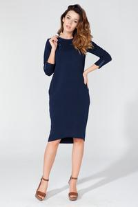 Dark Blue Casual 3/4 Sleeves Dress with Colorful Piping