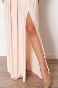 Pink Bandeau Maxi Dress with Side Slit