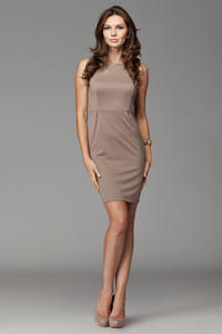 Beige Bateau Neck Seam Shift Slit Dress