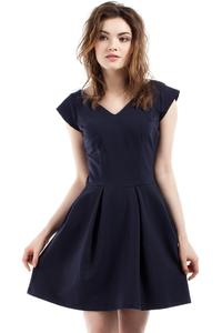 Dark Blue Coctail Pleated V-Neckline Dress