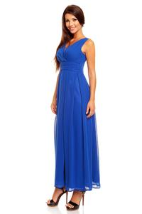 Blue V-Neck Slim Waist Prom Evening Dress