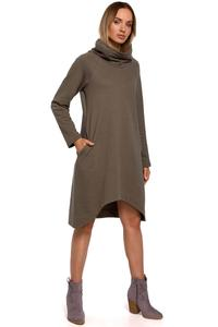 Knitted Asymmetrical Midi Dress (Khaki)