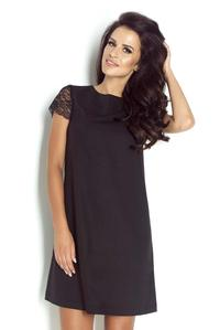 Black Flared Dress with Lace Sleeves