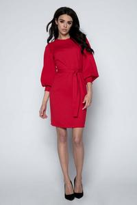 Red Wide Sleeves Dress with Self Tie Belt