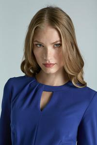 Blue Elegant Office Style Dress with Cut Out Collar
