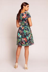 Blue Abstract Printed Pleated Dress with 1/4 Sleeves