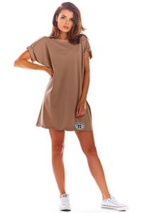 Beige Loose Summer Dress with a V-neck on the back