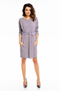 Light Grey Office Style Belted Dress