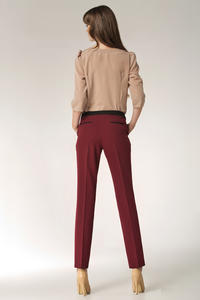 Tapered Red Pants with Trimmed Hip Pockets