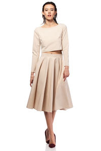 Beige Pleated Midi Skirt with Back Zipper Fastening