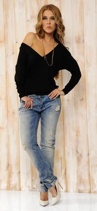 Black Oversized Deep Loose Neckline Blouse