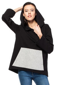 Black Oversized Hooded Sweatshirt with Contrast Kangaroo Pocket