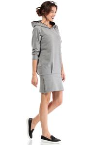 Grey  Casual Hooded Slim Skirt with Zipp Dress
